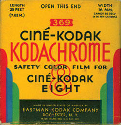 image of Kodachrome film box from 1940s.